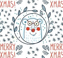 Christmas pattern with polar bears and wreaths.  Hand Drawn. by Olga Matskevich