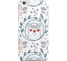 Christmas pattern with polar bears and wreaths.  Hand Drawn. iPhone Case/Skin