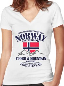Norway - Fjord & Mountain Women's Fitted V-Neck T-Shirt
