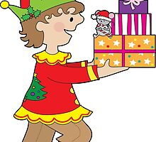 Elf with Presents by Maria Bell