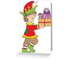 Elf with Presents Greeting Card