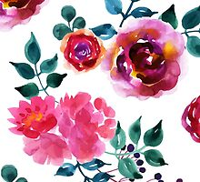 Beautiful hand-drawn flowers. Watercolor floral seamless pattern by Olga Matskevich