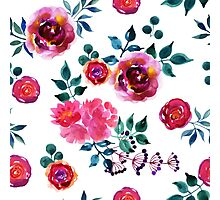 Beautiful hand-drawn flowers. Watercolor floral seamless pattern Photographic Print