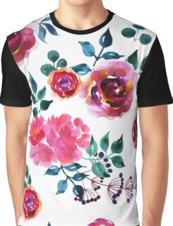 Beautiful hand-drawn flowers. Watercolor floral seamless pattern Graphic T-Shirt