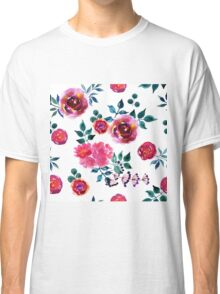 Beautiful hand-drawn flowers. Watercolor floral seamless pattern Classic T-Shirt