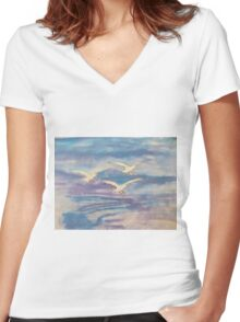 Over The Sea Women's Fitted V-Neck T-Shirt