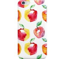 Watercolor seamless pattern with red apples. Hand drawn design. Summer fruit illustration. iPhone Case/Skin