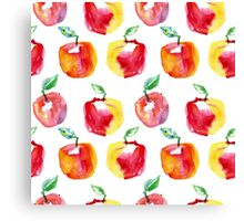 Watercolor seamless pattern with red apples. Hand drawn design. Summer fruit illustration. Canvas Print