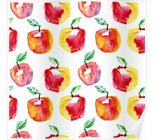 Watercolor seamless pattern with red apples. Hand drawn design. Summer fruit illustration. Poster