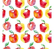 Watercolor seamless pattern with red apples. Hand drawn design. Summer fruit illustration. Photographic Print