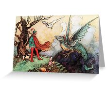 Fantasy Scene with Dragon and Adventurer Greeting Card
