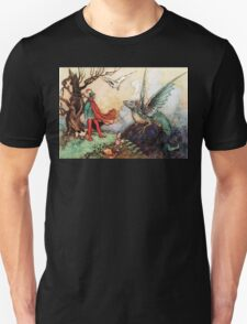 Fantasy Scene with Dragon and Adventurer T-Shirt
