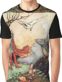 Fantasy Scene with Dragon and Adventurer Graphic T-Shirt