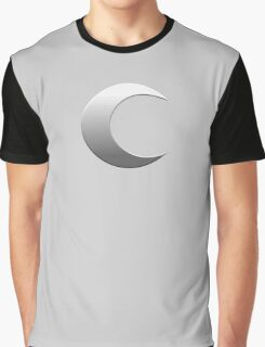 Silver Crescent Moon Graphic T-Shirt