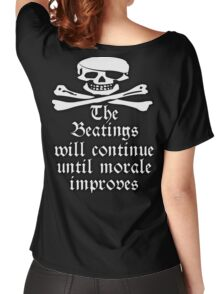 PIRATE, Pirate Morale, Sea men, Jolly Roger, Skull & Crossbones, Buccaneers, Me Hearties! white Women's Relaxed Fit T-Shirt