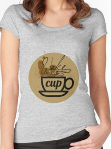 wake cup fos Women's Fitted Scoop T-Shirt