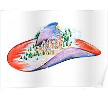 Winter Village Hat Poster