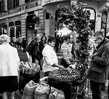 Selling Marroni Rome Italy 1-S B&W by GJKImages