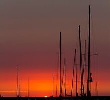 Sailboats at sunrise by Sven Brogren