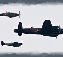 Lancaster & Spitfire Flypast by Dale Rockell