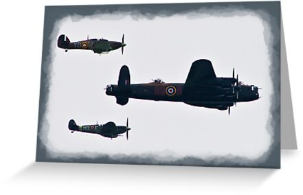 Lancaster & Spitfire Flypast by Dale Rockell