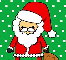 Adorable Kawaii Cartoon Santa Claus Greeting Card by hellohappy