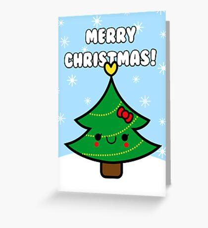 Adorable Kawaii Cartoon Christmas Tree Girl Greeting Card