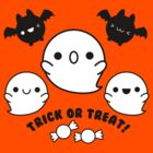 Halloween Adorable Kawaii Bats Ghosts and Candy by hellohappy