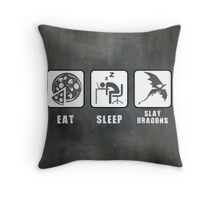 Eat, Sleep, Slay Dragons - Landscape Poster Throw Pillow