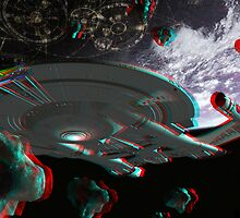 Star Trek Enterprise NX-01 Starship 3d Anaglyph by metacortex