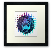 Blue and purple shark attack Framed Print