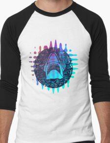 Blue and purple shark attack Men's Baseball ¾ T-Shirt