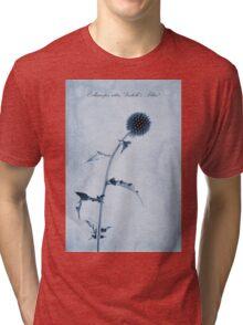 Echinops ritro 'Veitch's Blue' Cyanotype Tri-blend T-Shirt