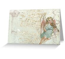 Victorian Vintage Little Angel Violin Girl Greeting Card