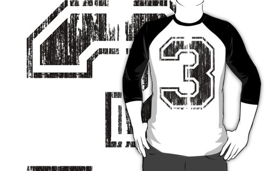 Bold Distressed Sports Number 3 by Adam Campen