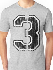 Bold Distressed Sports Number 3 Unisex T-Shirt