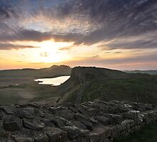 Hadrian's Wall from Castle Nick (near Sycamore Gap) by Joan Thirlaway