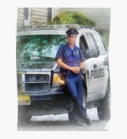 Policeman by Patrol Car Poster