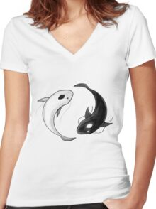Yin and Yang Women's Fitted V-Neck T-Shirt