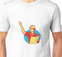 Female Engineer Construction Worker Pointing Retro Unisex T-Shirt