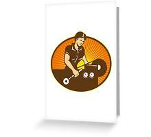 Female Machinist Worker Lathe Machine Greeting Card