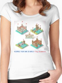 Medieval Castle Tiles Women's Fitted Scoop T-Shirt