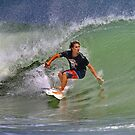 September Ponce Inlet Surfer by Deborah  Benoit