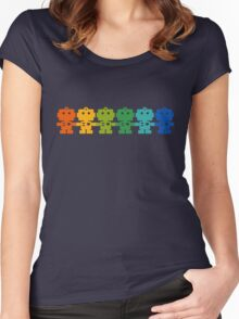 Rainbow Robots holding hands Women's Fitted Scoop T-Shirt