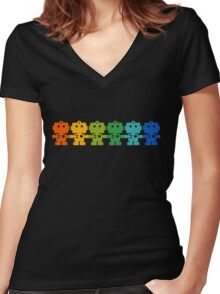 Rainbow Robots holding hands Women's Fitted V-Neck T-Shirt