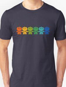 Rainbow Robots holding hands Unisex T-Shirt