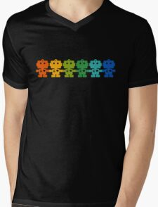 Rainbow Robots holding hands Mens V-Neck T-Shirt