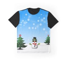 Cool Snowman and Sparkly Christmas Trees Graphic T-Shirt