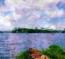 Summer landscape with boat by Cebas