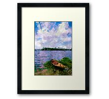 Summer landscape with boat Framed Print